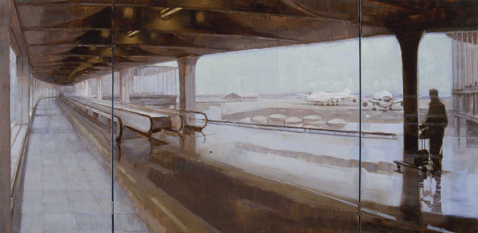 Correspondance. Triptyque open, huile sur toile 100 x 200 cm, 2001