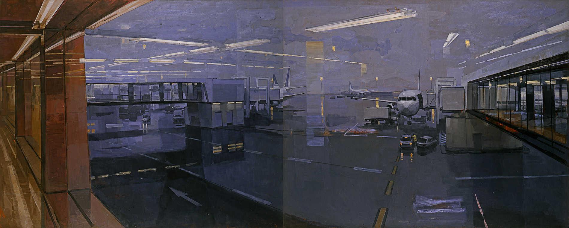 Grand Roissy. Huile sur toile, 160 x 400 cm, 2008