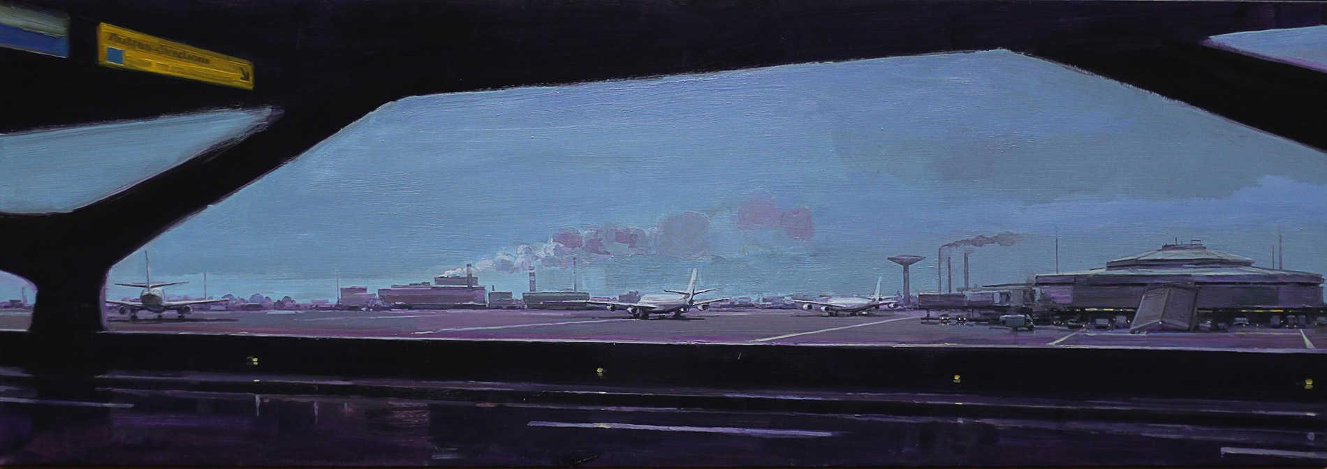 Grande desserte. Huile sur toile, 70 x 200 cm, 2008