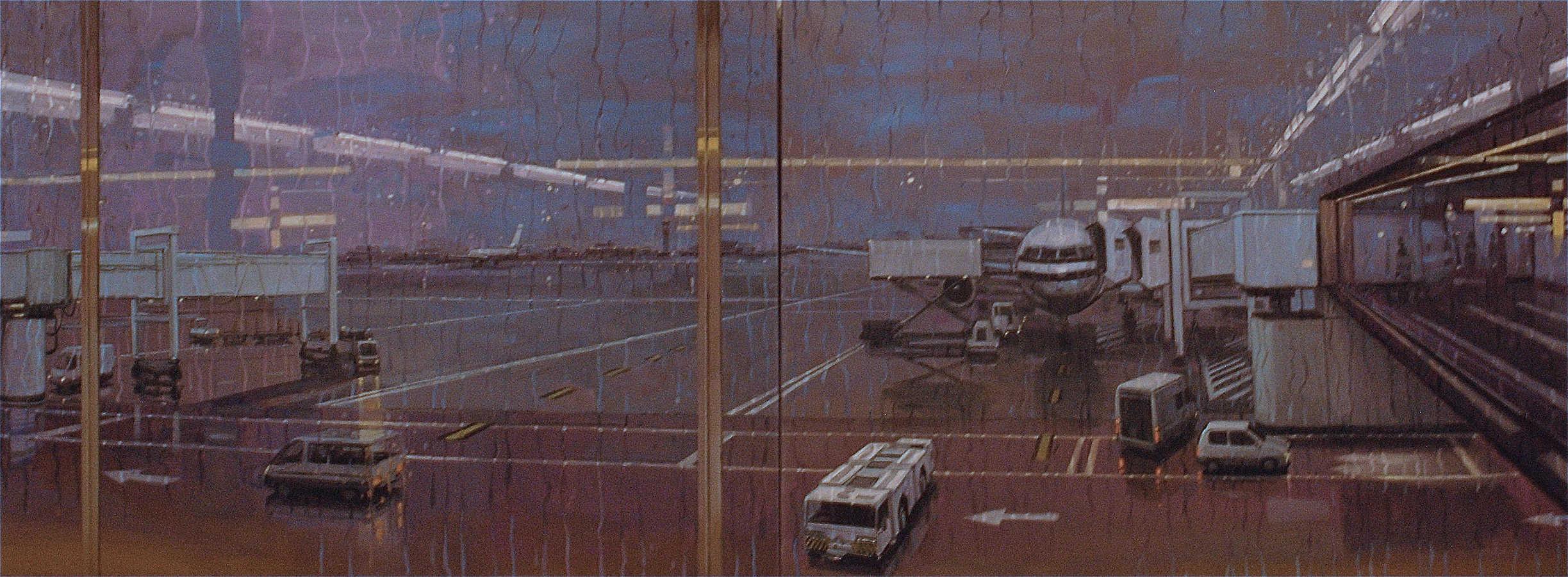 Pluies. Diptyque, huile sur toile, 97 x 260 cm, 2008