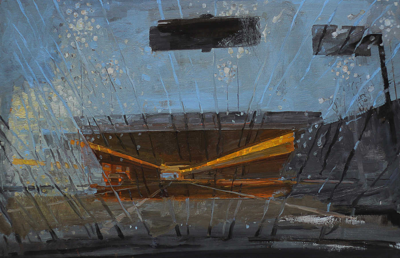 Pluies 1. Huile sur toile, 60 x 100 cm, 2010