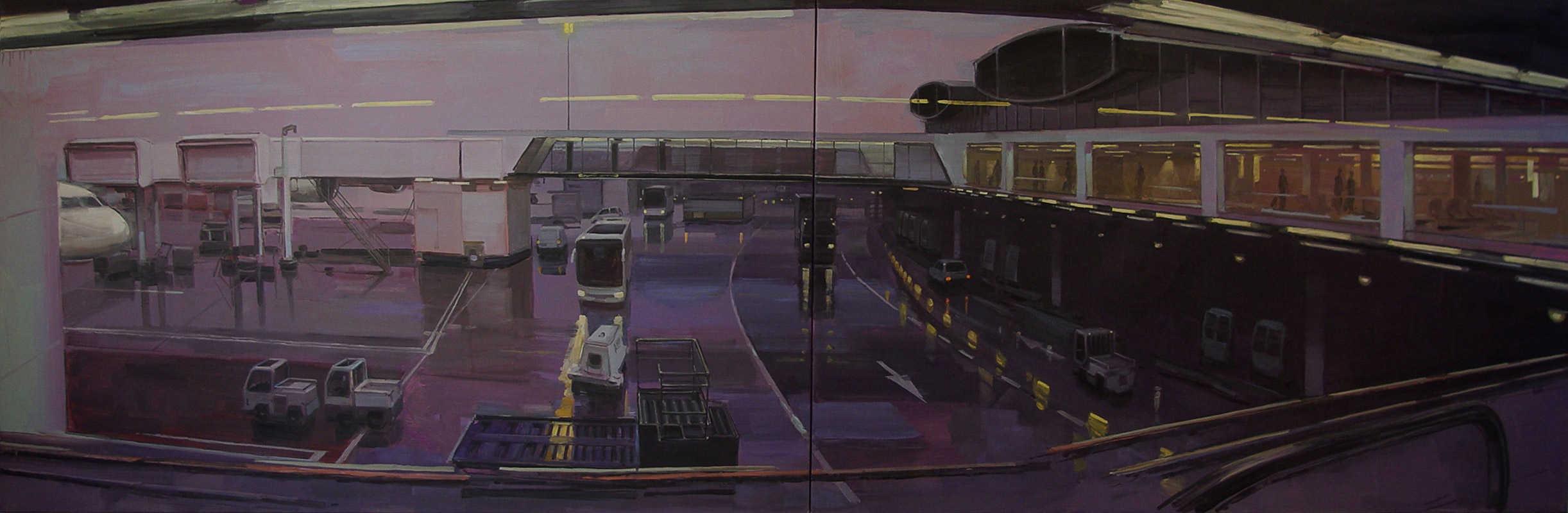 Tarmac. Huile sur toile, 97 x 260 cm, 2007-2008
