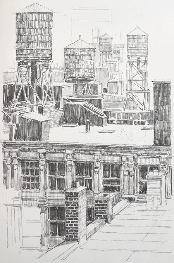 Brooklyn. Dessin, 28 x 20 cm, 2014