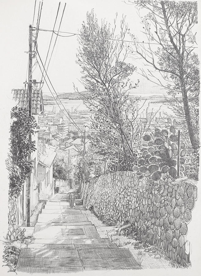 Chemin de la colline. Dessin, 42 x 30 cm, 2014
