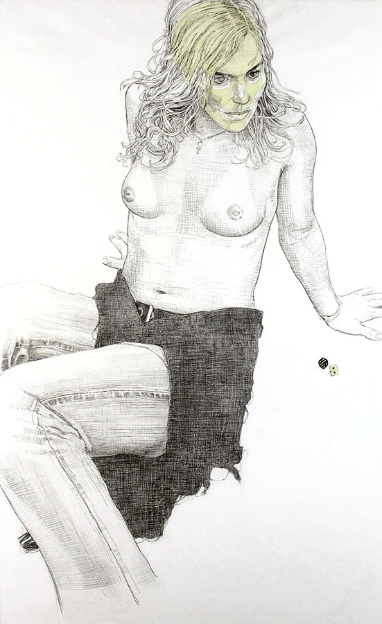 Contrepartie. Dessin et encre phosphorescente, 150 x 80 cm, 2008