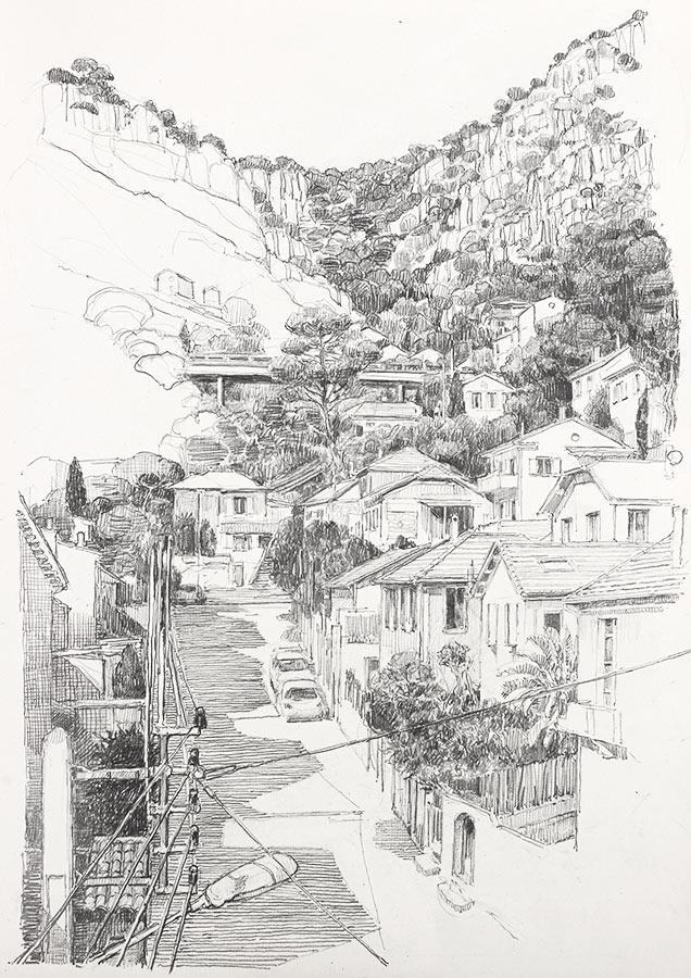 Corniche. Dessin, 42 x 30 cm, 2014
