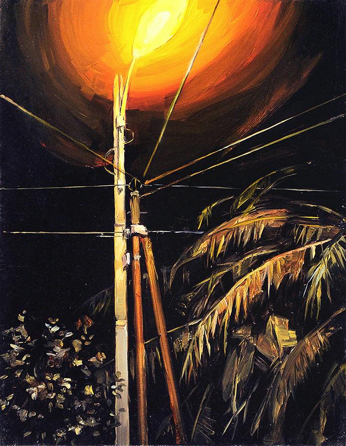 Grand réverbére. Huile sur toile, 100 x 97 cm, 2011