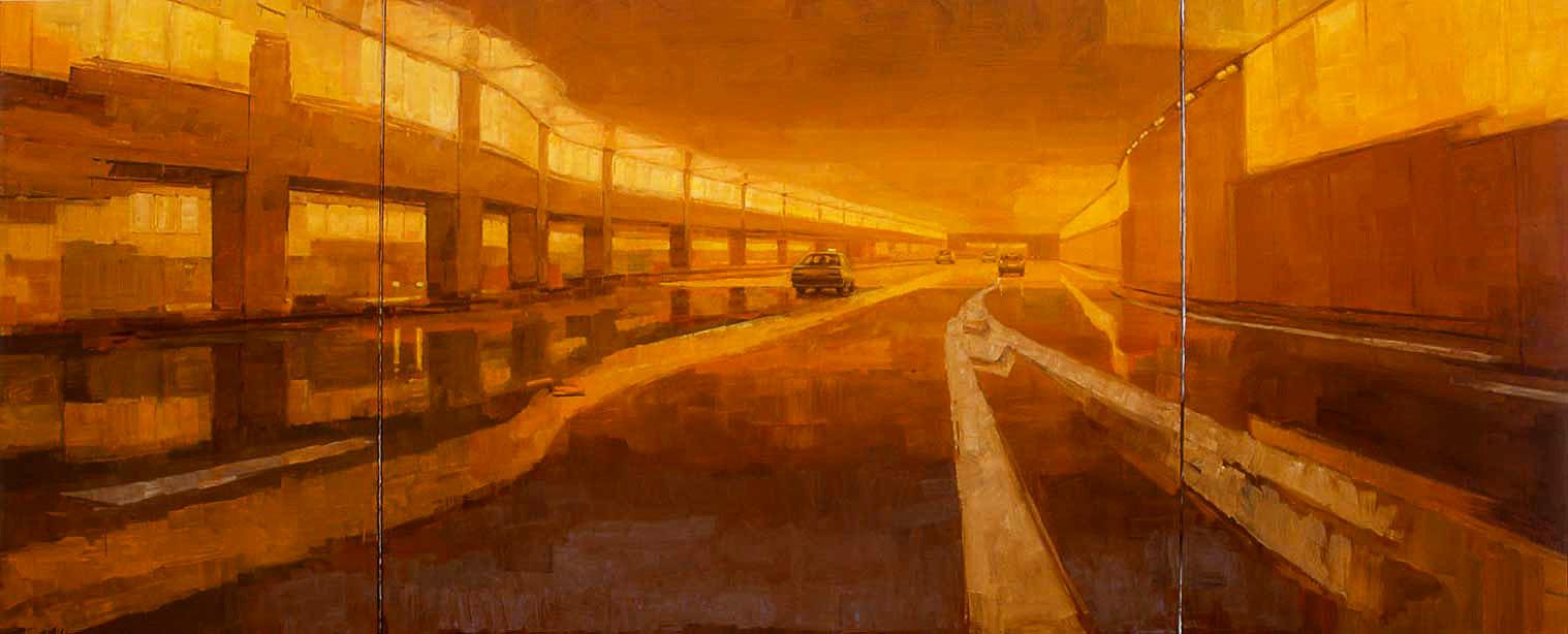 Grand triptyque opened. Huile sur toile, 160 x 400 cm, 2002
