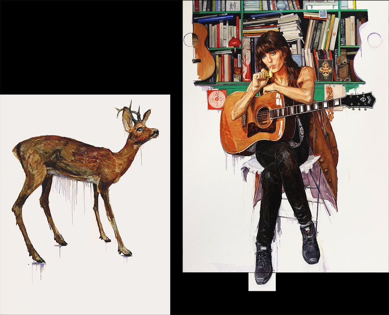 La biche et la lou. Diptyque, huile sur toile, 146 x 115 cm / 180 x 135 cm, 2012