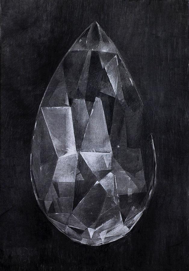 La pampille. Fusain, 100 x 70 cm, 2015