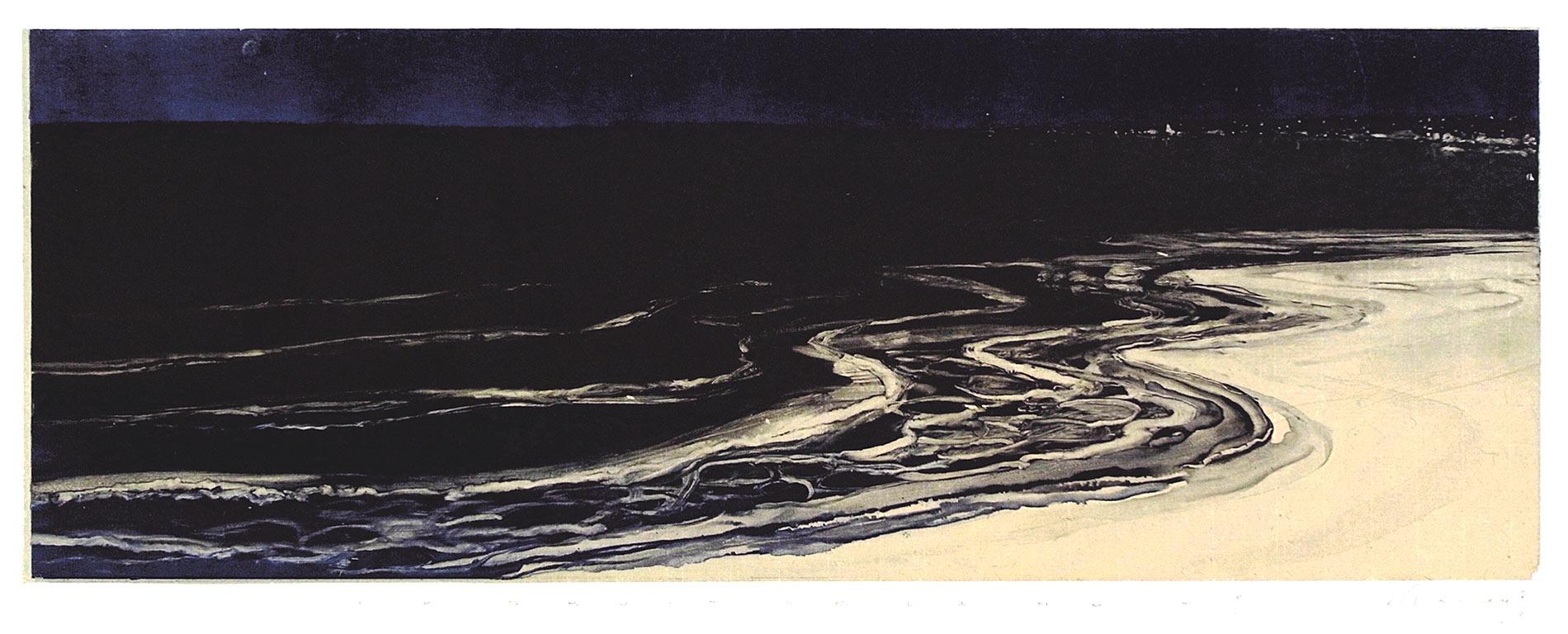 Le bruit de la nuit 3. Monotype, 20 x 55,5 cm, 2013