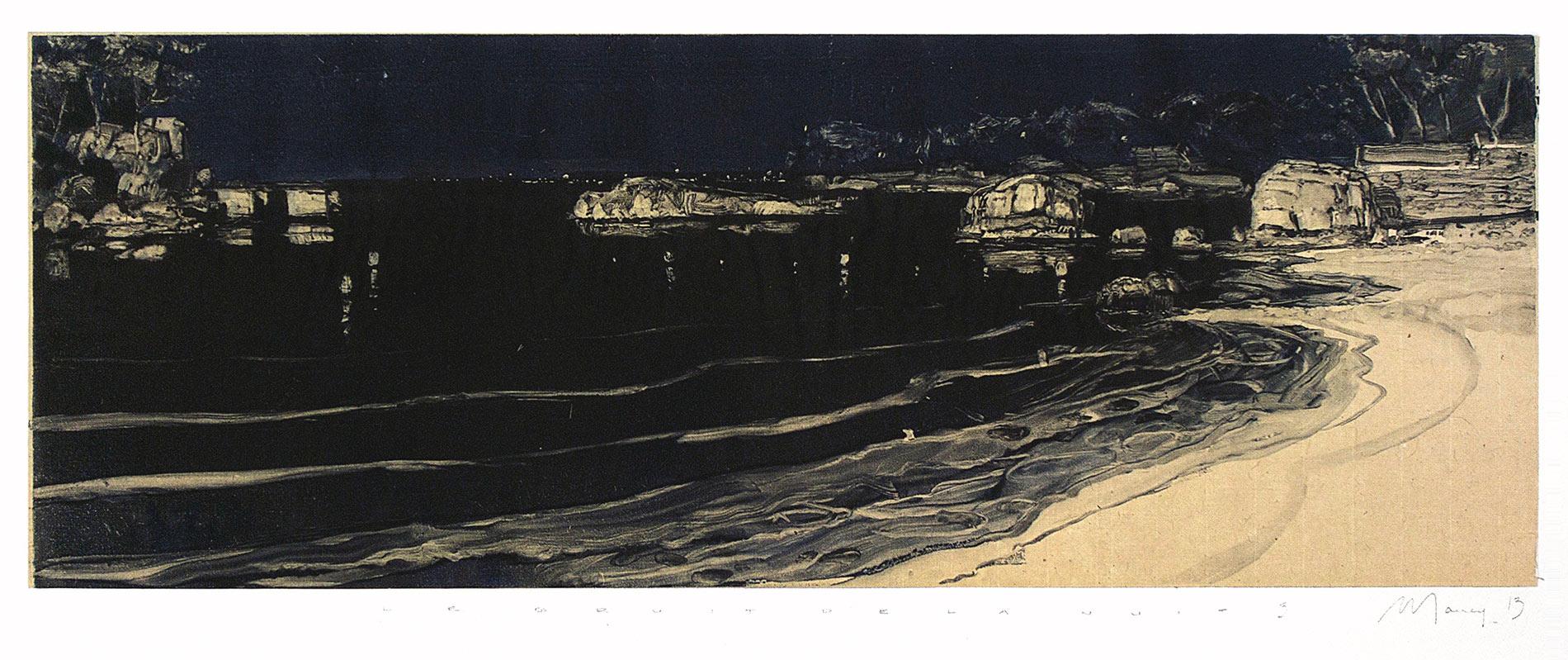 Le bruit de la nuit 5. Monotype, 20 x 55,5 cm, 2013