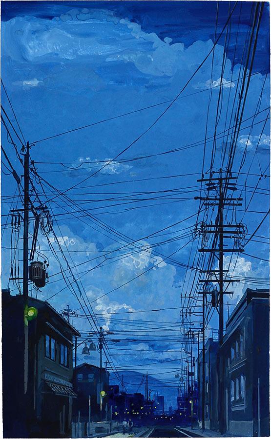Matsumoto 松本市. Gouache 50 x 32 cm, 2016