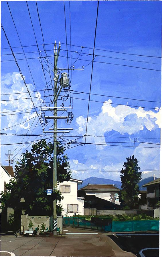 Matsumoto matin 松本市. Gouache 50 x 32 cm, 2016