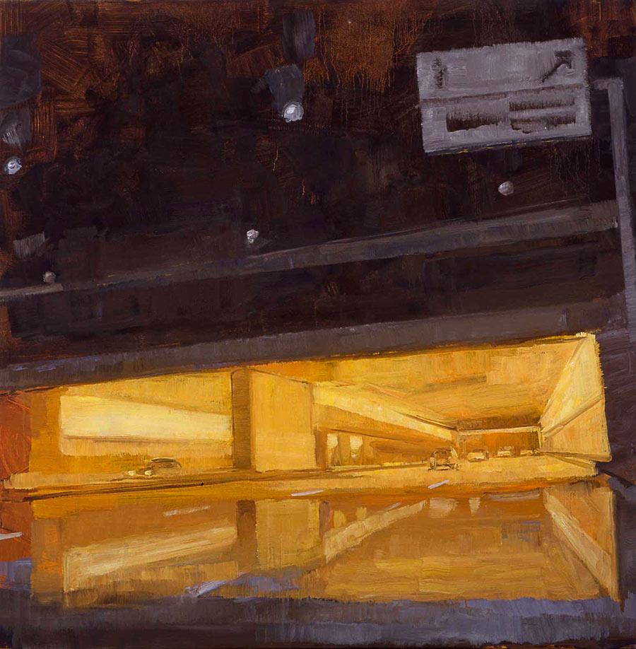 Périphérique porte des Lilas. Huile sur toile, 100 x 100 cm, 2002