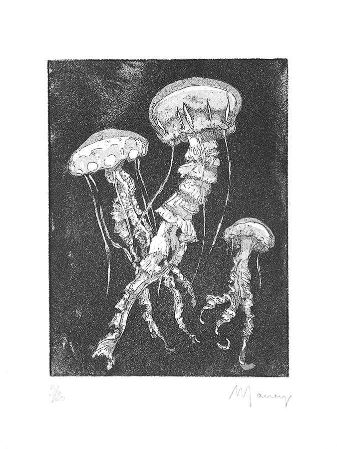 Premières ténèbres. Gravure (cuvette) 12 x 9 cm, 2005