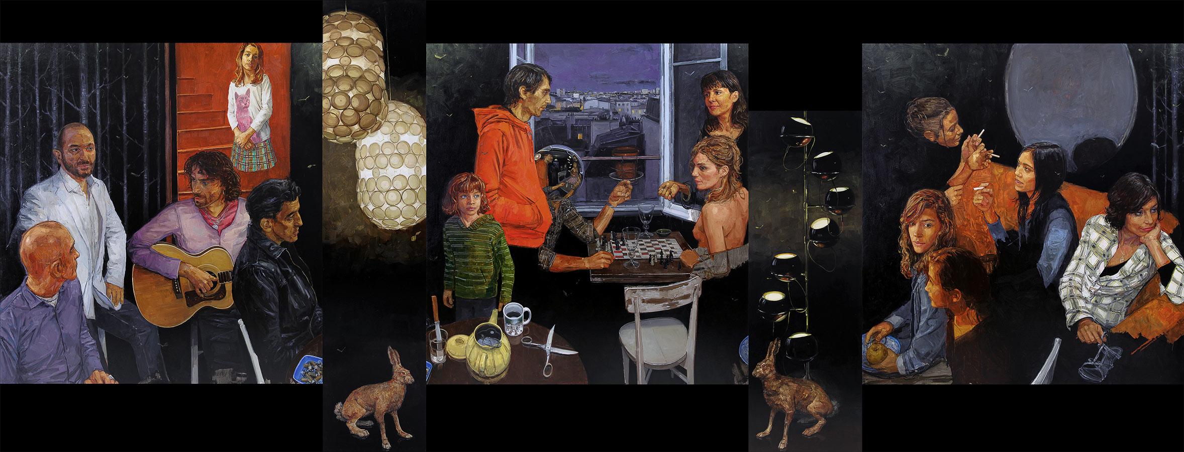 Le grand salon noir. Polyptyque, 181 x 600 cm, 2009-2010
