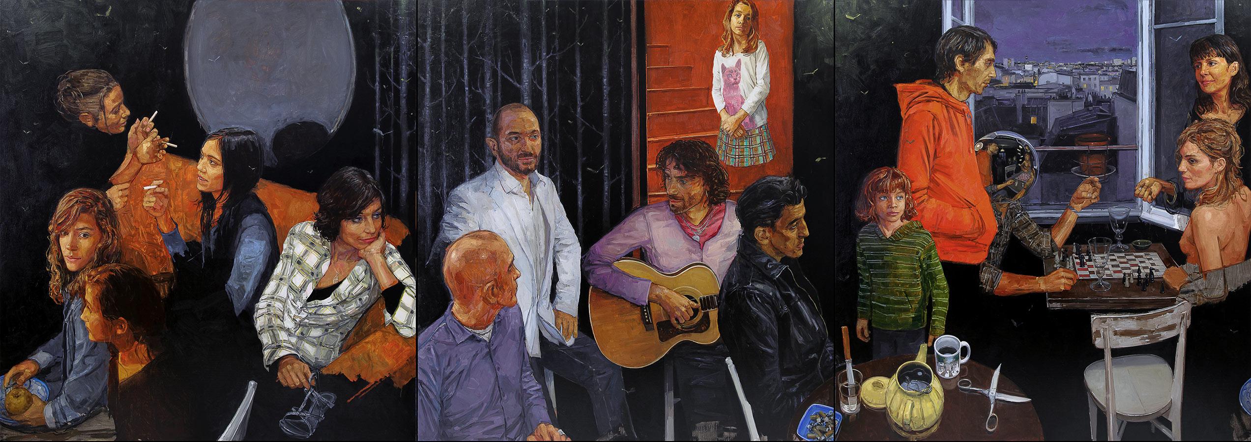 Le salon noir. Polyptyque, 181 x 513 cm, 2009-2010