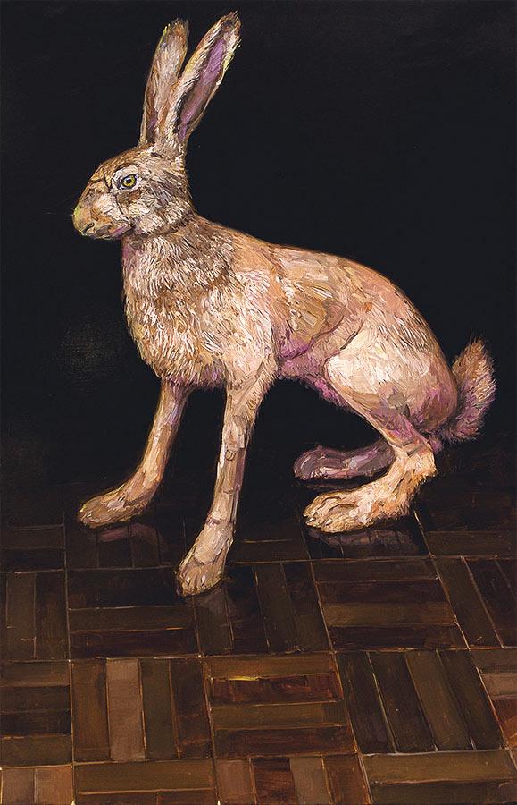 Lièvre 2. huile sur toile, 75 x 60 cm, 2011