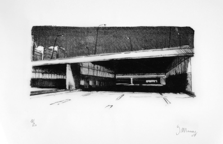 Petit périphérique. Lithographie sur calque 20 ex. 35 x 55 cm, 2004