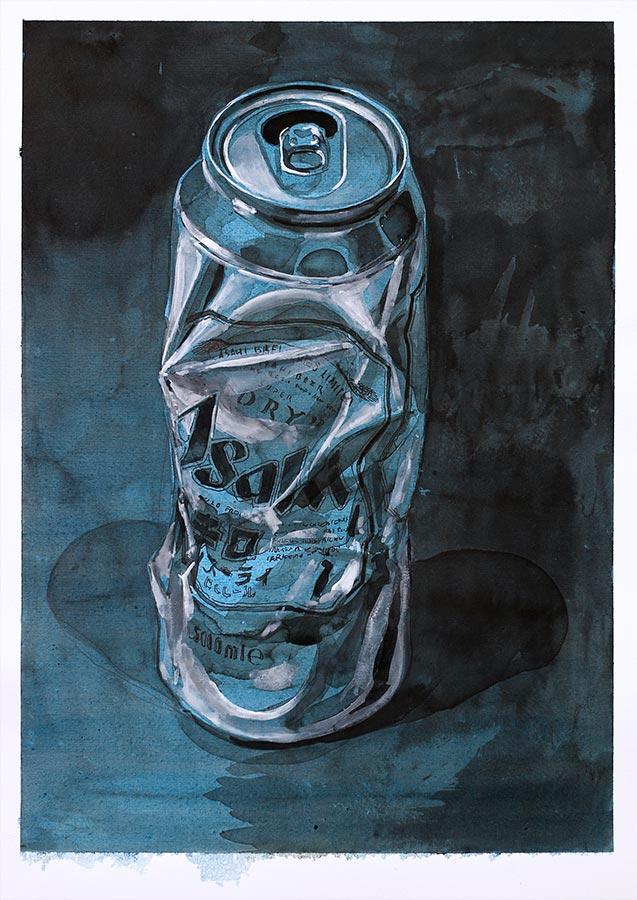 Asahi 1. Encre et gouache, 32 x 22 cm, 2017