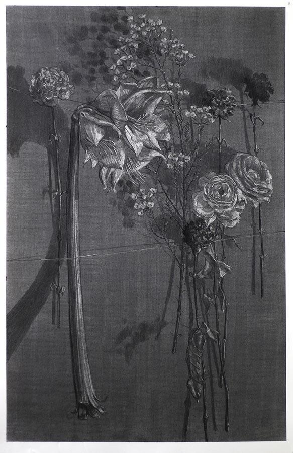 Fleurs. Fusain, 100 x 65 cm, 2017
