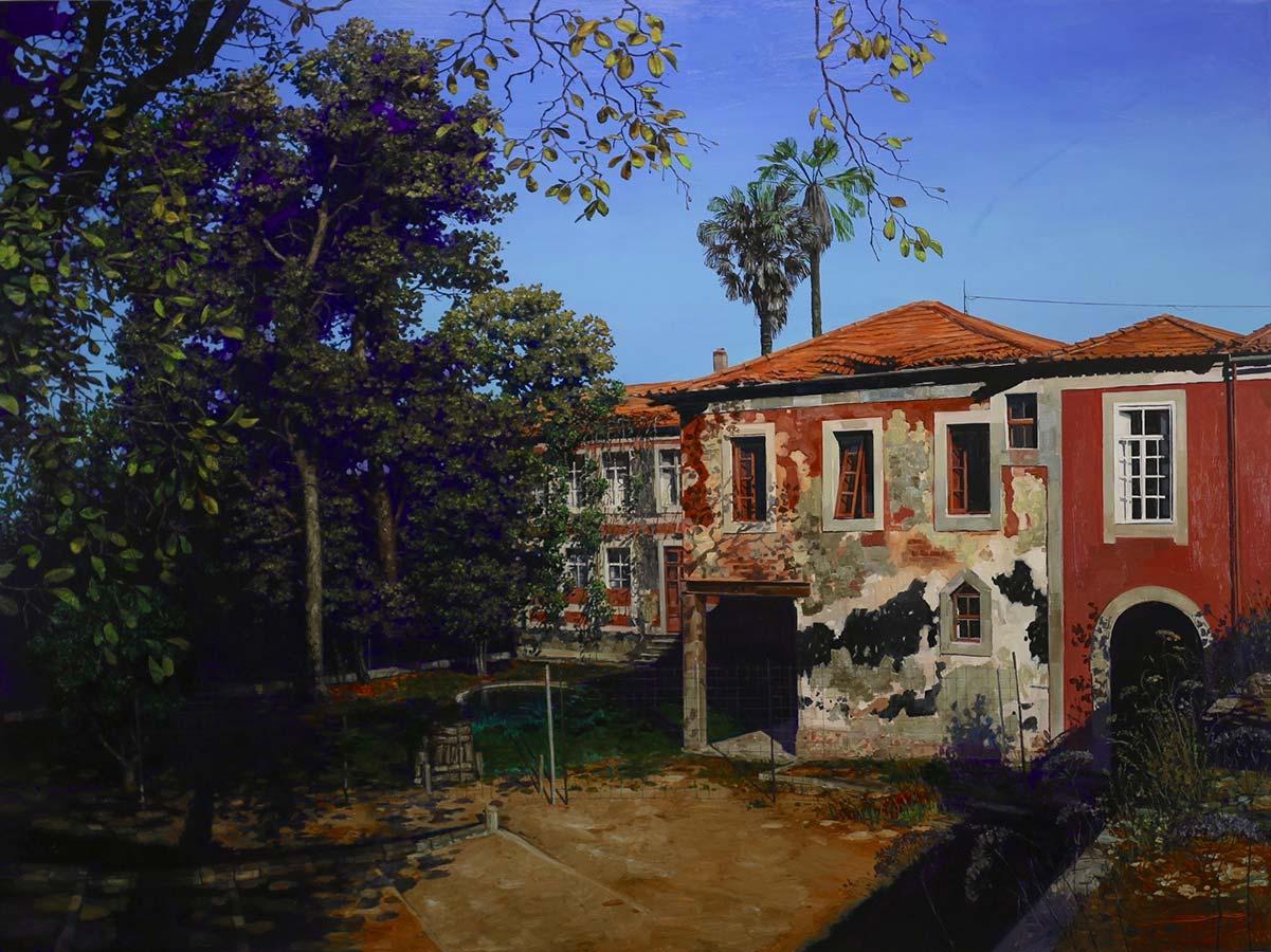 Jardins des camélias. Huile sur toile, 135 x 181 cm, 2018