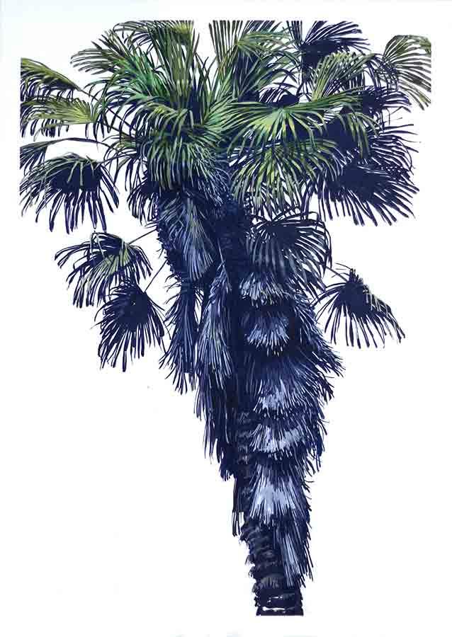 Palme 1. Gouache, 100 x 70 cm, 2018