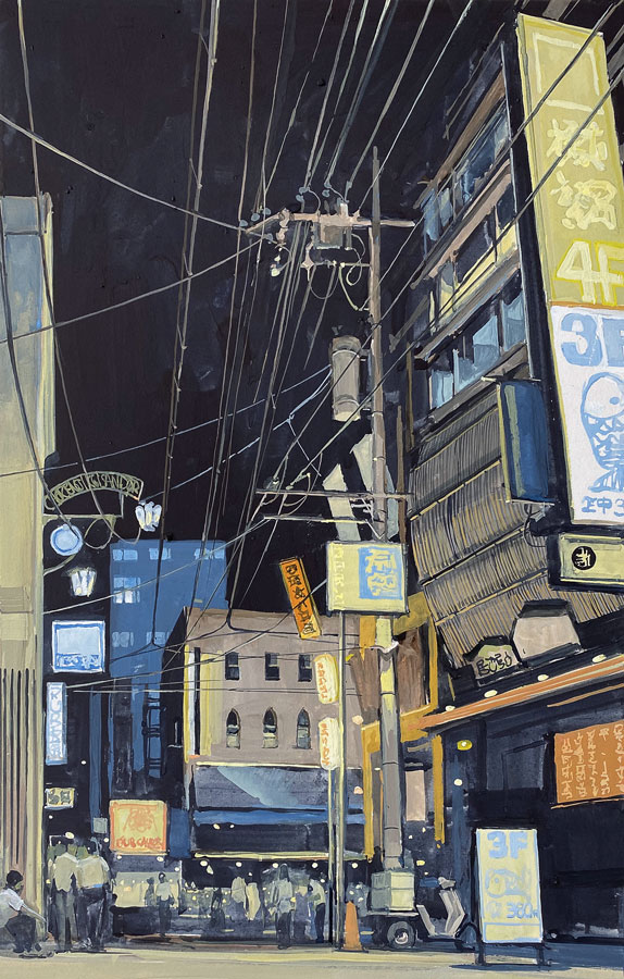 Ginza. Gouache, 50 x 32 cm, 2020