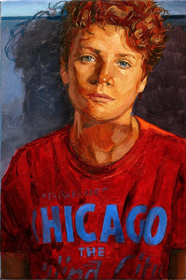 Chicago boy. Huile sur toile, 33 x 32 cm, 2020