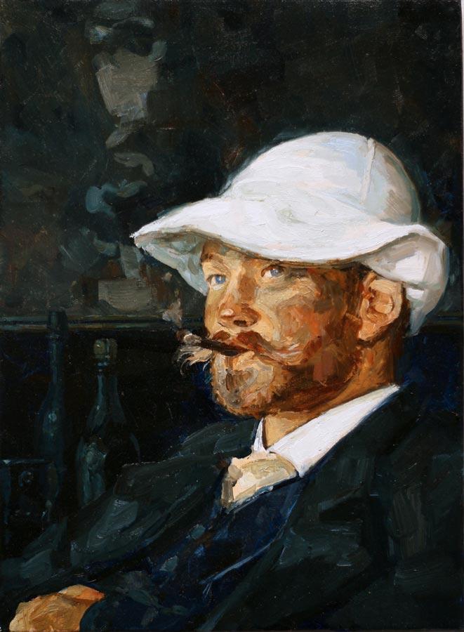 L'homme au chapeau. Huile sur toile, 24 x 33 cm, 2021