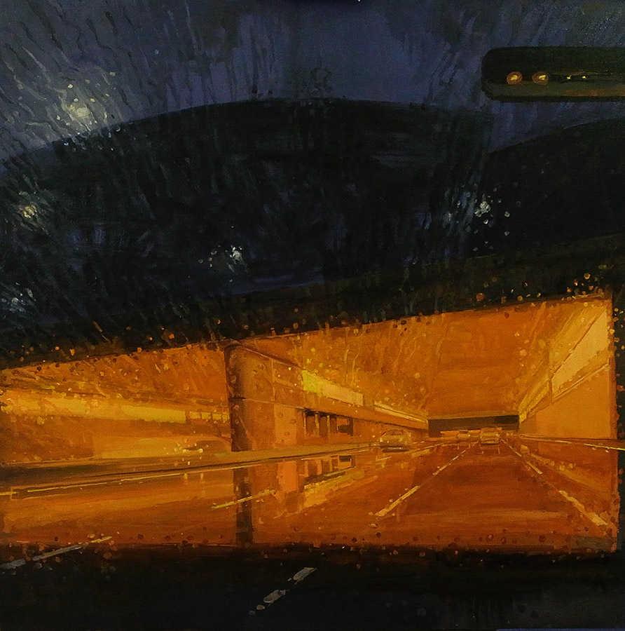 Pluies 2. Huile sur toile, 100 x 100 cm, 2010