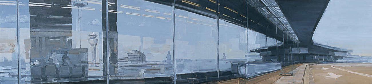 Roissy allongé. Huile sur toile, 47 x 200 cm, 2005