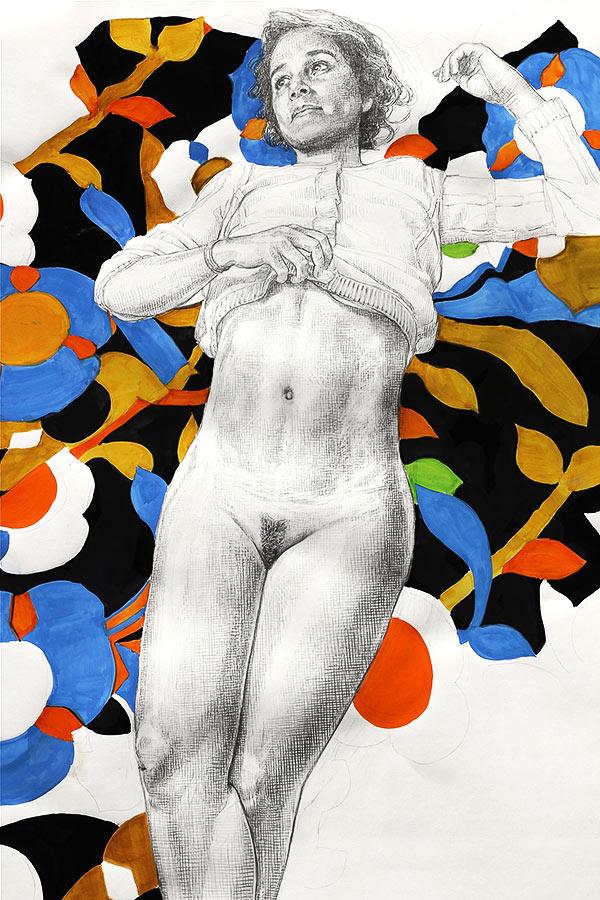 Chamarée 1. Dessin et gouache, 150 x 110 cm, 2013