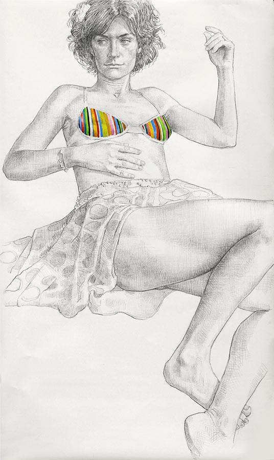 Chamarée 2. Dessin et gouache, 150 x 90 cm, 2013