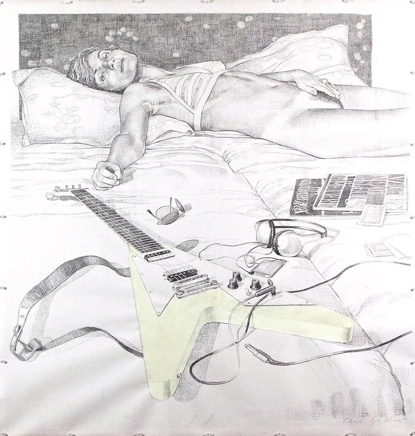 Flying girl. Dessin, 150 x 150 cm, 2009