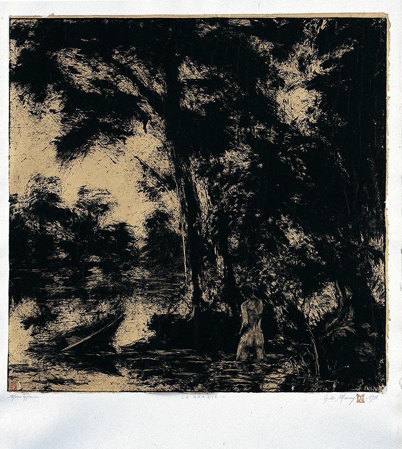 La rivière. Monotype, 50 x 50 cm, 1998