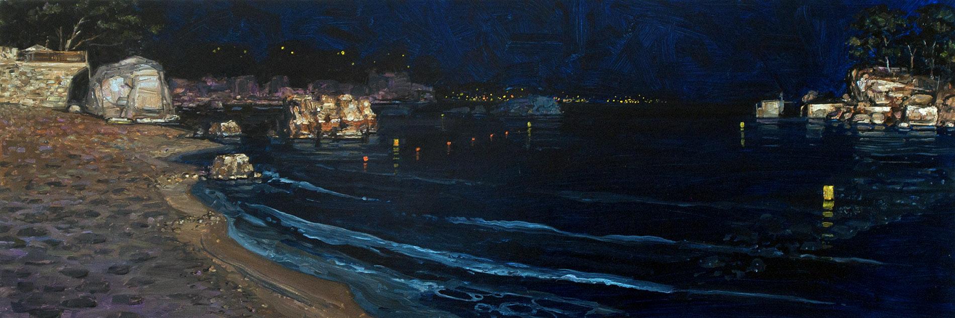 Le bruit de la nuit 2. Huile sur toile, 50 x 150 cm, 2013