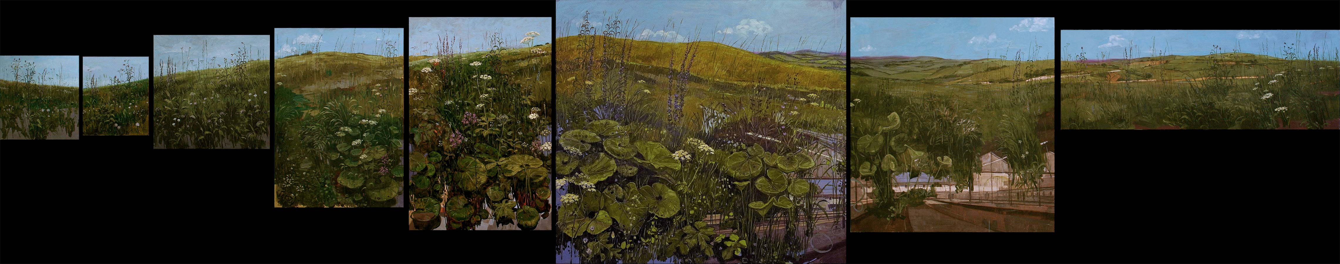 Les prairies. Polyptyque, Huile sur toile, 2011