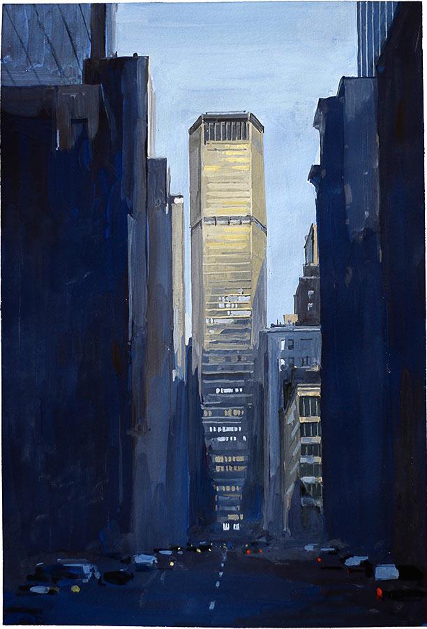 Manhattan 1. Gouache 50 x 32 cm, 2016