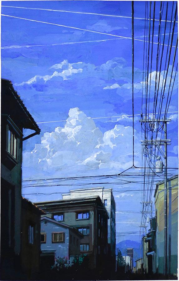 Matsumoto 2 松本市. Gouache 50 x 32 cm, 2016