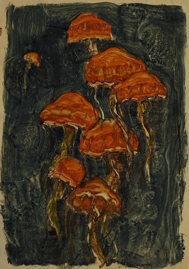 Méduses rouges. Monotype, 34 x 22 cm, 2000