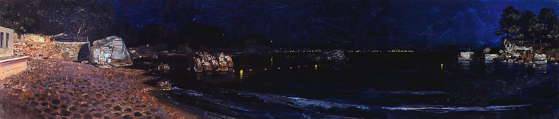 Petite plage. Huile sur toile, 37 x 170 cm, 2011
