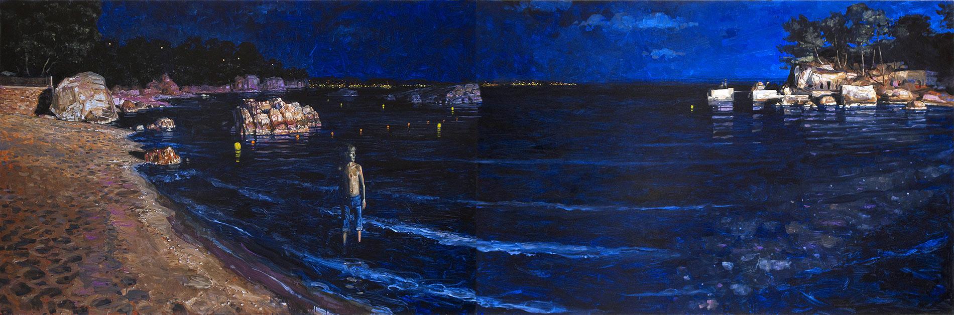 La plage (le bruit de la nuit). Diptyque, huile sur toile, 127 x 192 cm