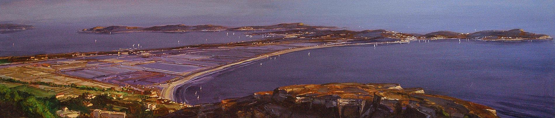 Presqu-île. Huile sur toile, 47 x 206 cm, 2012