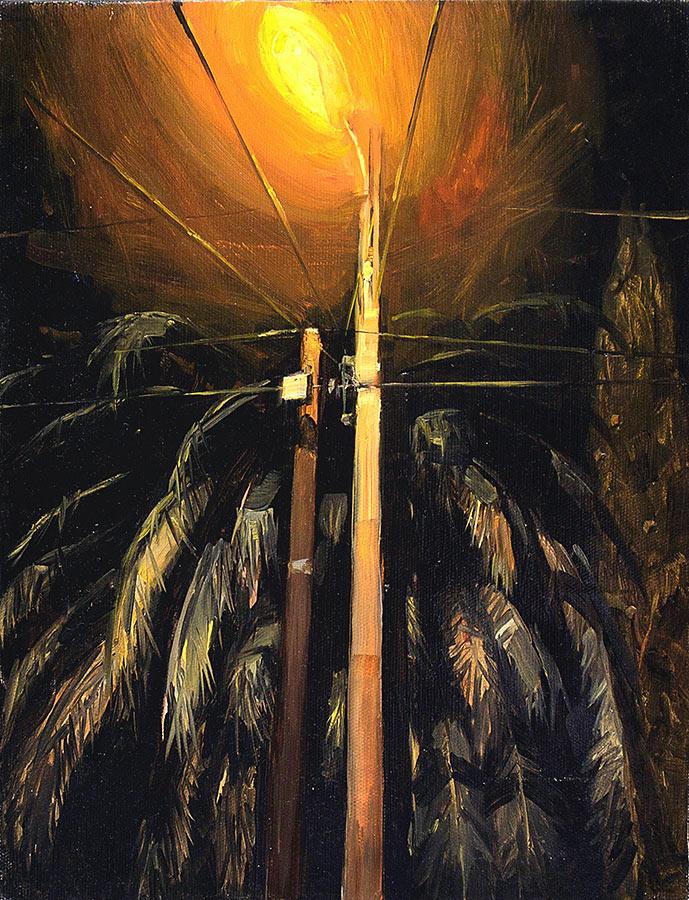 Réverbère. Huile sur toile, 37 x 27 cm, 2011