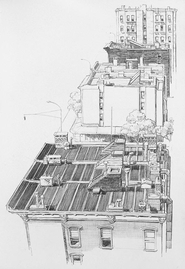 Roofs. Dessin, 42 cm x 30 cm, 2009