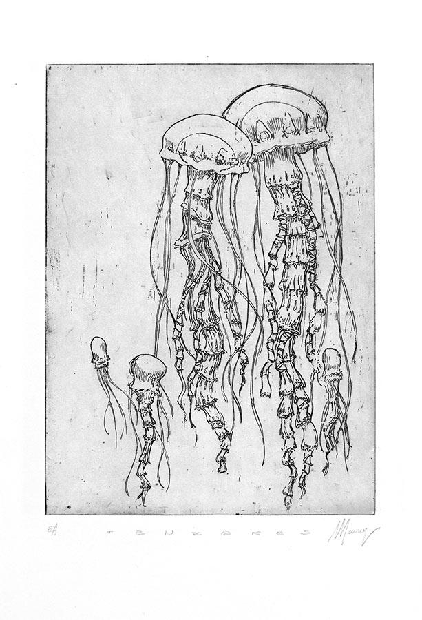 Ténèbres 2. Gravure (cuvette) 18 x 15 cm, 2014