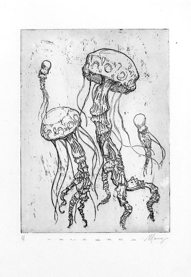 Ténèbres 3. Gravure (cuvette) 18 x 15 cm, 2014