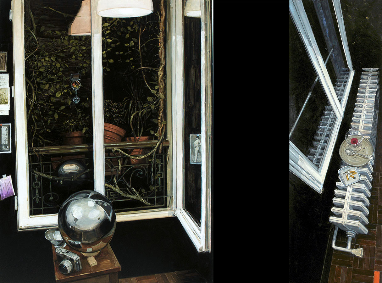 Diptyque au radiateur. Huile sur toile, 181 x 136 cm / 180 x 60 xm, 2011
